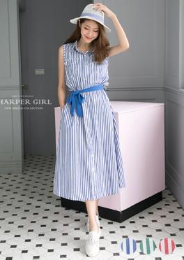 HARPER好感直條紋配色綁帶無袖長洋裝 3色